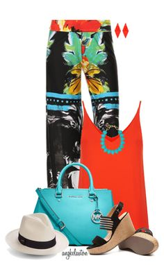 """""""Bright Summer"""" by angkclaxton ❤ liked on Polyvore featuring Topshop, MICHAEL Michael Kors, Vitamin A and Towne & Reese"""