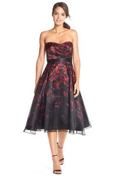 Aidan Mattox Floral Satin Fit & Flare Dress available at #Nordstrom