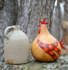 Gourd Art Rooster in Reds Custom Made Orange Blue or by Gourdament