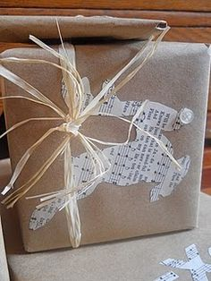 brown paper gift wrap. Make copies of things you love and personalize each gift.