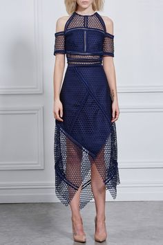 Rachel Gilbert, Fall WInter 2016, Honeywomb Blue Wrap Dress