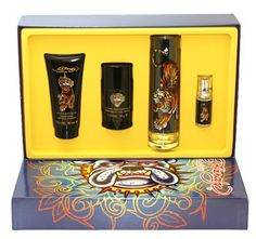 Christian Audigier Ed Hardy Men Set by Christian Audigier. $56.99. We offer many great sales and discounts making this fragrance cheaper than at department stores.. All our fragrances are 100% originals by their original designers. We do not sell any knockoffs or immitations.. 4 Pc. Gift Set ( Eau De Toilette Spray 3.4 Oz & 0.25 Oz + Hair & Body Wash 3.0 Oz + Alcohol Free Deodorant 2.7 Oz ) for Men. Ed Hardy King Dog Cologne for Men 4 Pc. Gift Set ( Eau De Toile...