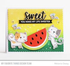 I'm back with a card for My Favorite Things May Release Countdown Day I play with new stamp set and dies to make a very sweet . Sweet Watermelon, Watermelon Slices, Friendly Fox, Flower Silhouette, Polka Dot Background, Pastel Paper, Mft Stamps, Cat Cards