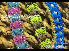 LOOMLESS KNIGHTS Bracelet - hook only. Designed by @adele.griffiths. Tutorial and looming by Jays Alvarez. Click photo for YouTube tutorial. 10/19/14. Rainbow Loom Tutorials, Rainbow Loom Patterns, Rainbow Loom Creations, Loom Band Bracelets, Rubber Band Bracelet, Rainbow Loom Bands, Rainbow Loom Bracelets, Rubber Band Crafts, Rubber Bands