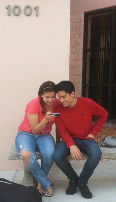 Waiting for the Library to open, Celeste and Sergio keep in touch with their friends.