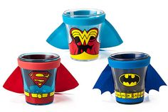 DC Comics Caped Shot Glasses:  Nothing makes shot glasses geekier than putting a cape on them and watching it fly as you knock back your drink. And these DC Comics Caped Shot Glasses are super indeed.    These tiny glasses with tiny capes are just adorable. You can choose from Batman, Superman, or Wonder Woman. My favorite out of these is Superman. These are a must have for DC Comics fans.