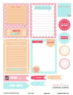journaling elements, cards, preview