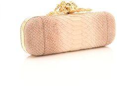 Alexander McQueen Pink Snakeskin Clutch (Custom Clasp)  -