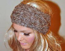 Ear Warmer Crochet Headband Head wrap Earwarmer CHOOSE COLOR Birch Brown Beige Eco Neutral…