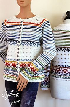 Ravelry: Sylvia pattern by Gitte Bettina Lauridsen - GNIST Sweater Knitting Patterns, Crochet Cardigan, Knitting Stitches, Knit Patterns, Knit Crochet, Punto Fair Isle, Fair Isle Pattern, Fair Isle Knitting, Knitting For Beginners