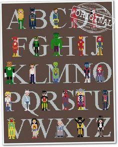 The Original Pixel People Superhero Alphabet por weelittlestitches