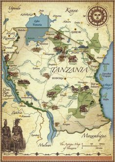 A Journey of Postcards: The map of Tanzania Horn Of Africa, Africa Map, German East Africa, Pictorial Maps, British Indian Ocean Territory, African Countries, History Photos, African Safari, Kenya