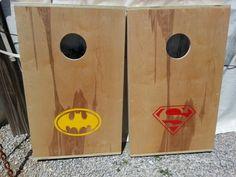 Batman and Superman Cornhole Corn hole Boards by CornholeWorld, $109.99