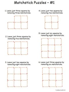 Here is a set of six easy matchstick puzzles to get beginners started on this old time brain teasing opportunity. Free for you to print and the solutions are included. Logic Puzzles, Word Puzzles, Puzzles For Kids, Riddle Puzzles, Number Puzzles, Printable Brain Teasers, Brain Teasers For Kids, Kids Brain Games, Word Brain Teasers