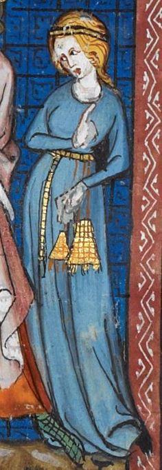 Les Grandes chroniques de France 1332-1350 Royal MS 16 G VI  Folio 14r Medieval Books, Medieval Manuscript, Medieval Times, Medieval Art, Medieval Costume, Medieval Dress, Medieval Clothing, Historical Costume, Historical Clothing