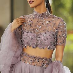 Mona Mina Purle Net Designer All Over Embroidered Lehenga Choli Gray Net Embroidered Circular Bridal Lehenga Choli - Beaver shade Net & satin inner Lehenga Choli - Steel Blue Bride Mono Net Lehenga with upto XL si. Lehnga Blouse, Lengha Blouse Designs, Netted Blouse Designs, Choli Designs, Fancy Blouse Designs, Blouse Neck Designs, Bridal Blouse Designs, Latest Lengha Designs, Sheer Blouse