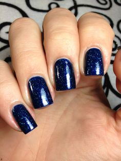 Tainted Love deep blue lacquer with scattered by SignetNails