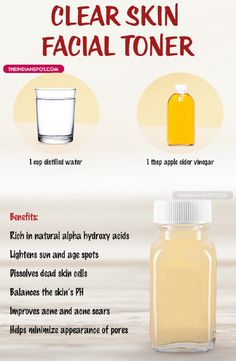 Homemade Natural Clear Skin TonerHere is an easy recipe for a facial toner that will improve your skin and make it more clear. It is made with distilled water and apple cider vinegar. This toner guarantees to lighten age and sun spots, dissolve dead skin cells, balance the skin's pH, improve acne and acne scars and also minimize the appearance of pores. Please checkout and if you like save and share it! Thx