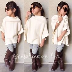 Love the poncho! Girls Fall Fashion, Cute Kids Fashion, Tween Fashion, Little Girl Fashion, Toddler Fashion, Little Girl Outfits, Cute Outfits For Kids, Aaliyah Style, Divas
