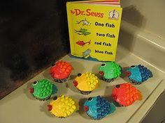The Johns Family: Happy Birthday Dr. Dr Seuss Cupcakes, Blue Cupcakes, 2nd Birthday Parties, Boy Birthday, Happy Birthday, Birthday Ideas, Red Fish Blue Fish, One Fish Two Fish, Dr Seuss Day
