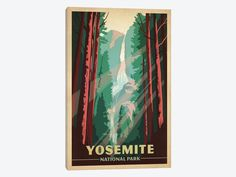 """Art & Soul Of America National Parks Collection: Yosemite National Park Yosemite Falls by Anderson Design Group Canvas Print 26"""" L x 40"""" H x 0.75"""" D - eWallArt"""