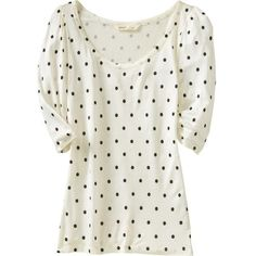 Old Navy Women's Polkadot Tops ($18) ❤ liked on Polyvore featuring tops, t-shirts, shirts, blusas, women, white t shirt, fitted shirt, fitted white shirt, polka dot t shirt and boatneck t shirt