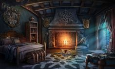 fantasy bedroom room gaming game places anime cozy medieval cottage furniture fireplace gameart gamedev