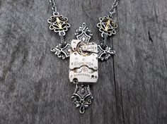 Clockpunk Steampunk Pendant Necklace, Antiqued Silver Gothic Cross Fleury with Elgin Watch Movement & Gears on Silver Cable Link Chain