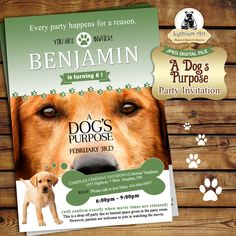 A Dogs Purpose Invitation - Printable Dog Invitation - Puppy Birthday Invitation - Dog Invitation - Boy Invitation - Puppy Birthday Party de LythiumArt en Etsy