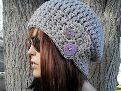Womens hat  chunky knit Slouchy gray hat lilac button by yagmurhat