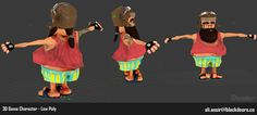 3d game character low-poly using blender