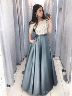 0dad95b3e8 Two Pieces Half Sleeve Lace Grey Long Evening Prom Dresses