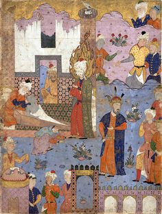 "برگی از فالنامه امام جعفر صادق(ع)، 1550 میلادی، قزوین Muhammad Revives the Sick Boy"", Folio from a Falnama (Book of Omens) of Ja'far al-Sadiq Object Name: Folio from an illustrated manuscript Date: 1550s Geography: Iran, Qazvin Medium: Ink, opaque watercolor, and gold on paper Dimensions: Painting: H. 23 1/16 in. (58.6 cm) W. 17in. (43.2cm) Mat : H. 28 in. (71.1 cm) W. 22 in. (55.9 cm) Frame: H. 30 1/2 in. (77.5 cm) W. 24 1/2 in. (62.2 cm)"