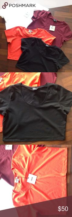 4 Cropped Tops New never worn cropped tops  all size US 14 all have tags except the black one but it has Never been worn  -Orange NWT  -Black NWOT  -Burgundy  NWT  -White NWT but has a small spot see pic 4 Asos Tops Crop Tops