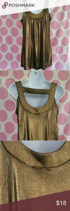 SHIMMERING GOLD Top This Gold Shimmering Top Makes any Outfit Shine...Pairs with Black Extremely Well...Great Condition..Size L A.Byer Tops