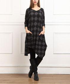 Look what I found on #zulily! Charcoal Argyle Handkerchief Dress - Women #zulilyfinds