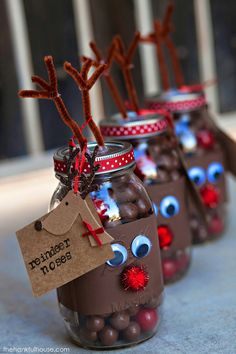 #Reindeer noses mason #gift jars http://www.thehankfulhouse.com/2014/12/reindeer-noses-mason-gift-jars.html #diy #christmasgift #giftidea #christmasidea #diygifts