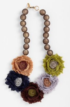 So cute! Floral Fabric Beaded Necklace
