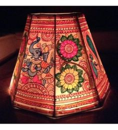 Multicoloured leather lampshade ethnic lamps pinterest lights lampshade handpainted multicoloured ganesha leather mozeypictures Image collections