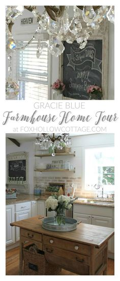 Gracie Blue Farmhouse Home Tour at http://foxhollowcottage.com .