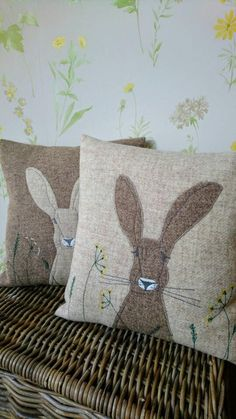 Hand crafted Harris Tweed Hare embroidered cushion cover, These decorative handmade pillow covers are a good way to include a brand new check out any space! Applique Cushions, Cute Cushions, Embroidered Cushions, Owl Pillows, Patchwork Cushion, Burlap Pillows, Decorative Pillows, Easter Pillows, Handmade Pillows