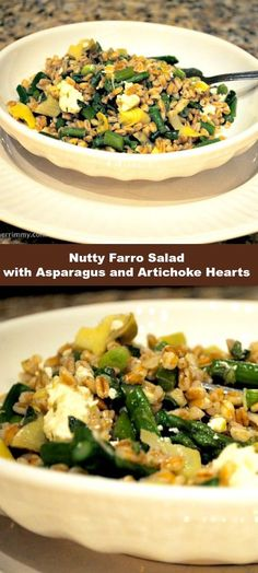Healthy Salad - Nutty Farro Salad with Asparagus and Artichoke Hearts