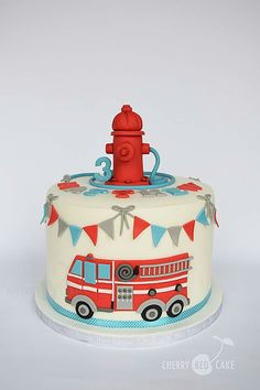 Fire engine cake More Firefighter Birthday Cakes, Truck Birthday Cakes, Fireman Birthday, Fireman Party, Birthday Cake Kids Boys, 4th Birthday, Fire Cake, Fire Truck Cakes, Fire Engine Cake