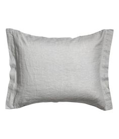 Light gray. PREMIUM QUALITY. Pillowcase in washed linen. Tumble drying will help keep linen soft. Thread count 104.