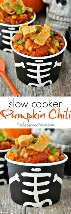 Slow Cooker Pumpkin Chili is an easy and healthy weeknight dinner  or a festive make-ahead meal to serve at a Halloween party!Slow Cooker Pumpkin Chili is an easy and healthy weeknight dinner  or a festive make-ahead meal to serve at a Halloween party!