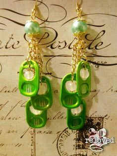 Green Monster Tab Earrings. $7.00, via Etsy.