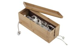 Space-Saving Bamboo Cord Cubby - contemporary - Cable Management - Great Useful Stuff