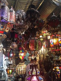 Lamps for sale in the souks of Marrakech just on the doorstep of Dar Les Cigognes