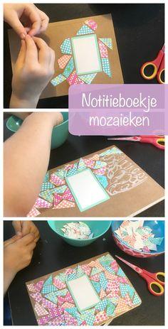 Notebook mosaics - DIY notebook mosaics – tinkering with children – crafts for kids – teacher gift - Glue Gun Crafts, Cork Crafts, Diy Crafts, Mosaic Diy, Mosaic Crafts, Toddler Crafts, Crafts For Kids, Children Crafts, Bookshelf Makeover