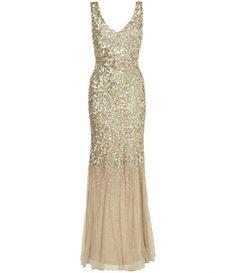 Phase Eight Luna sequin full length dress, Gold